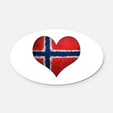 Norway Heart Oval Car Magnet