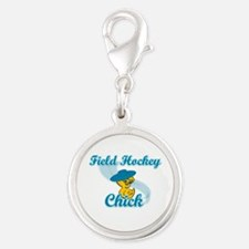 Field Hockey Chick #3 Silver Round Charm