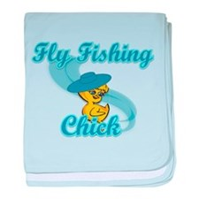 Fly Fishing Chick #3 baby blanket