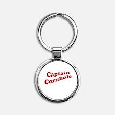 Captain Cornhole Round Keychain