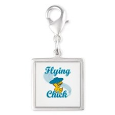 Flying Chick #3 Silver Square Charm