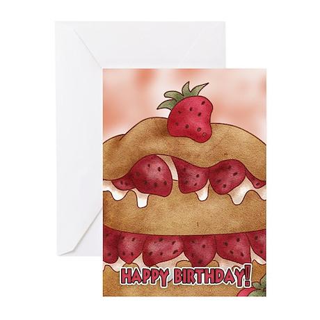 Birthday Card With Strawberry Cake (Pk of 10)