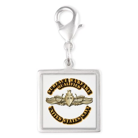 Navy - Surface Warfare - Gold Silver Square Charm