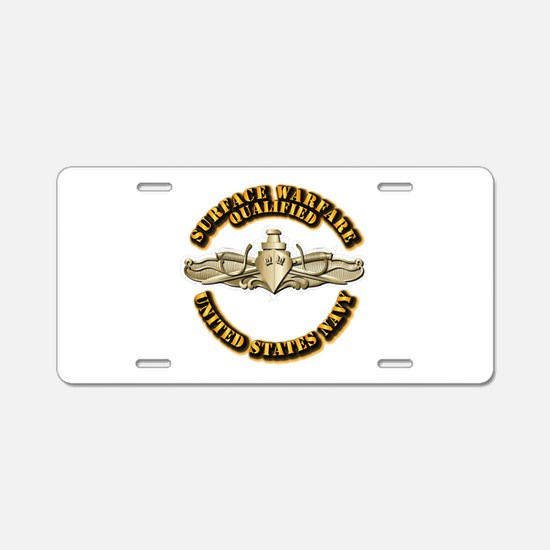 Navy - Surface Warfare - Gold Aluminum License Pla