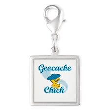 Geocache Chick #3 Silver Square Charm
