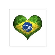 "Brazilian Heart Square Sticker 3"" x 3"""