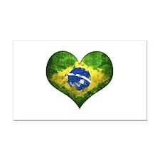 Brazilian Heart Rectangle Car Magnet