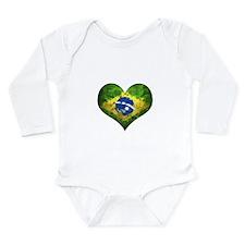 Brazilian Heart Long Sleeve Infant Bodysuit