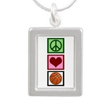 Peace Love Basketball Silver Portrait Necklace