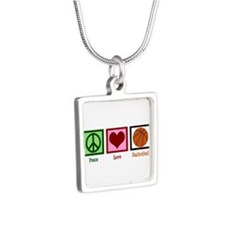 Peace Love Basketball Silver Square Necklace