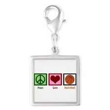 Peace Love Basketball Silver Square Charm