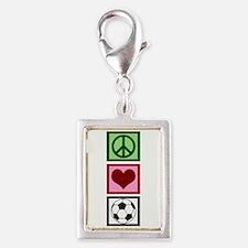 Peace Love Soccer Silver Portrait Charm