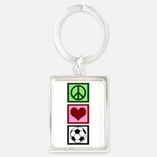 Peace Love Soccer Portrait Keychain