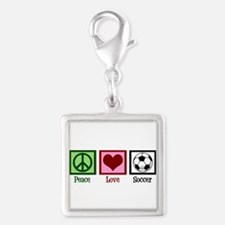 Peace Love Soccer Silver Square Charm