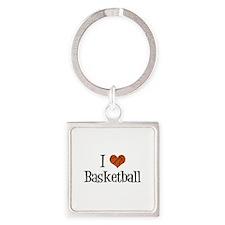 I Heart Basketball Square Keychain