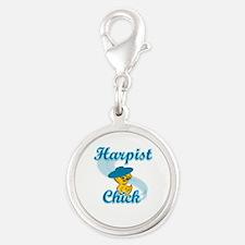 Harpist Chick #3 Silver Round Charm