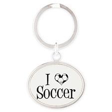 I Heart Soccer Oval Keychain