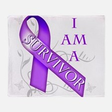 I Am a Survivor (purple).png Throw Blanket