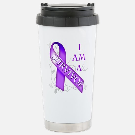 I Am a Survivor (purple).png Stainless Steel Trave