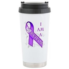 I Am a Survivor (purple).png Travel Mug