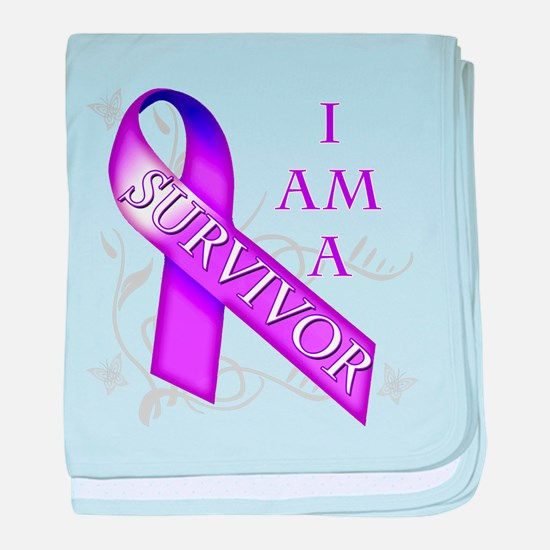 I Am a Survivor (purple).png baby blanket