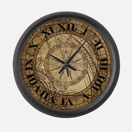 Vintage Compass Rose Collage Large Wall Clock