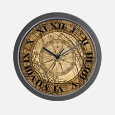 Vintage Compass Rose Collage Wall Clock