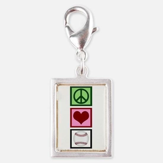 Peace Love Baseball Silver Portrait Charm