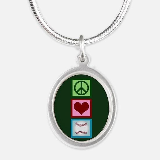 Peace Love Baseball Silver Oval Necklace