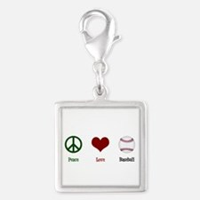 Peace Love Baseball Silver Square Charm
