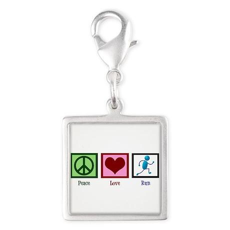 Peace Love Run Silver Square Charm