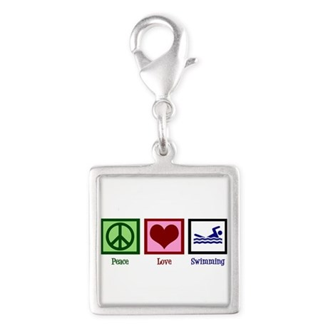 Peace Love Swimming Silver Square Charm