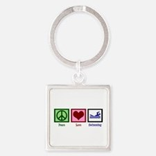 Peace Love Swimming Square Keychain
