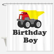 Dump Truck Birthday Boy Shower Curtain