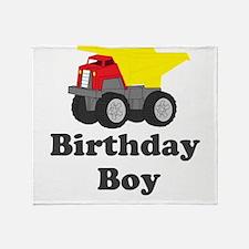 Dump Truck Birthday Boy Throw Blanket