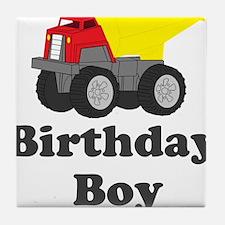 Dump Truck Birthday Boy Tile Coaster