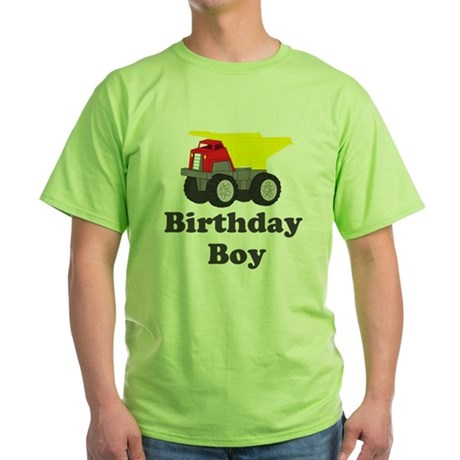 Dump Truck Birthday Boy Green T-Shirt