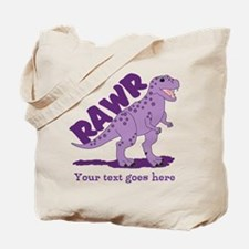 Personalized Purple Dinosaur RAWR Tote Bag