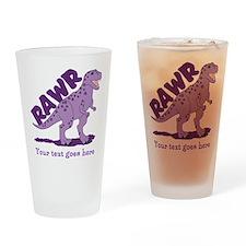 Personalized Purple Dinosaur RAWR Drinking Glass