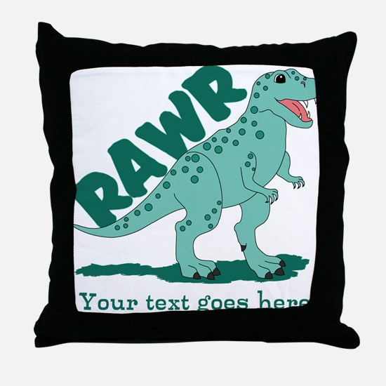 Personalized Green Dinosaur RAWR Throw Pillow