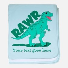 Personalized Green Dinosaur RAWR baby blanket