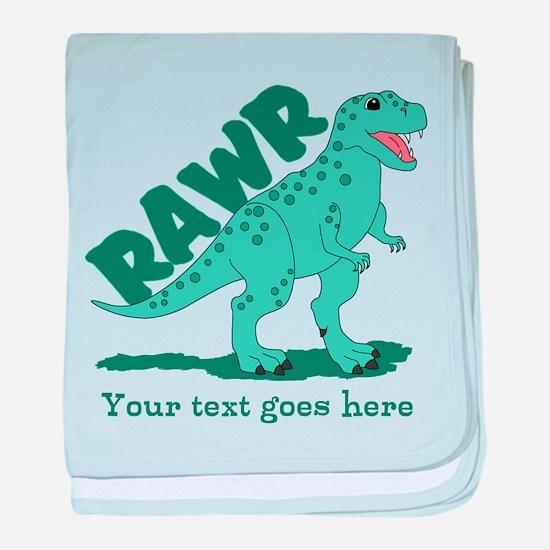Personalized Green Dinosaur RAWR baby blanket