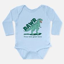 Personalized Green Dinosaur RAWR Long Sleeve Infan