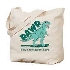 Personalized Green Dinosaur RAWR Tote Bag