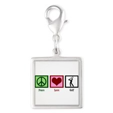 Peace Love Golf Silver Square Charm