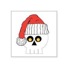 "Santa Skull Christmas Square Sticker 3"" x 3"""
