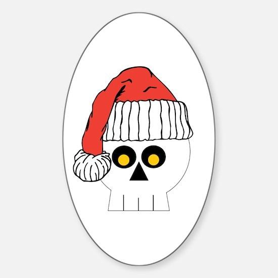 Santa Skull Christmas Sticker (Oval)