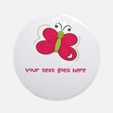 Personalized Cute Cartoon Butterfly Ornament (Roun