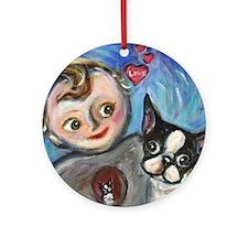 Boston Terrier baby love Ornament (Round)