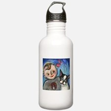Boston Terrier baby love Water Bottle